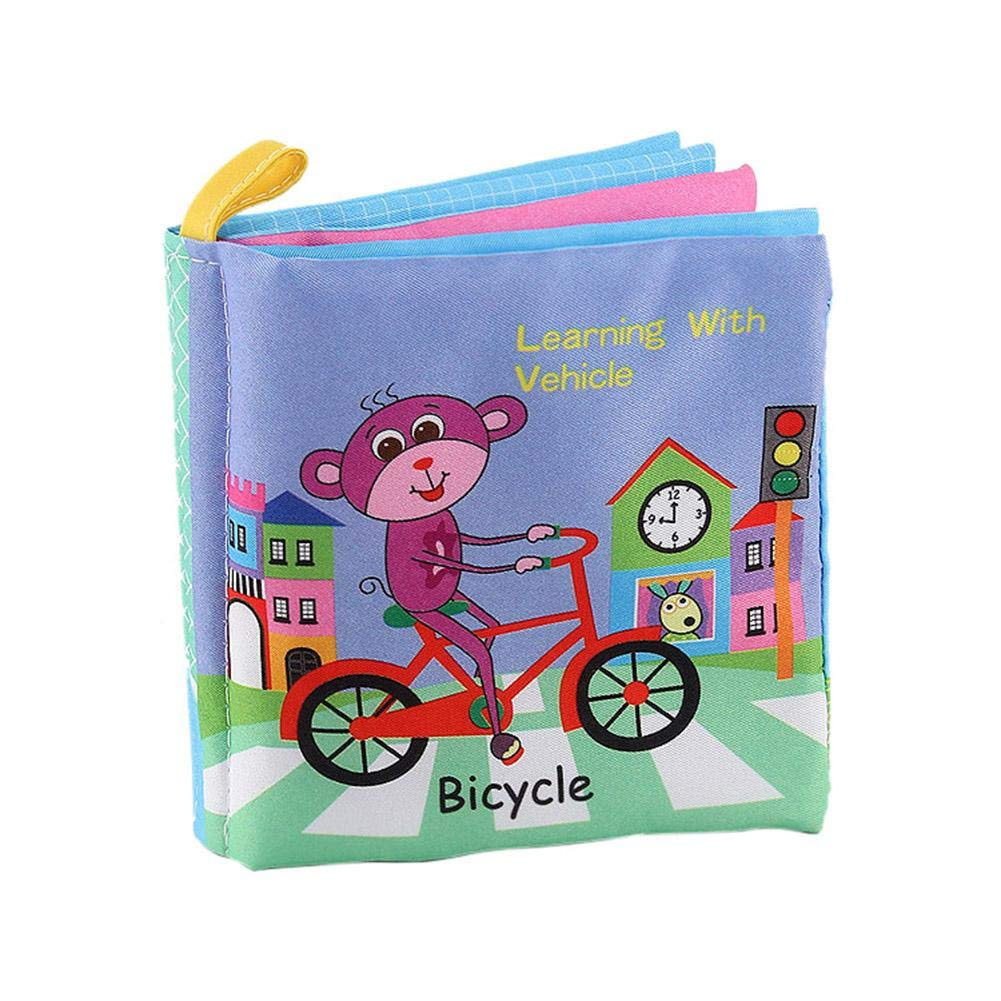 waysad Baby Cloth Books Baby Early Learning Toys Tearless English Cognitive Book with Vocal Bb Stimulate Baby's Feelings Awareness for Baby's Enlightenment(0-24 Months)