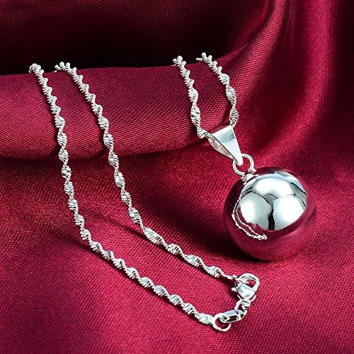- phitak shop new Fashion 1pcs 925 Silver Big Bell Ball Pendant jewelry gift N-4