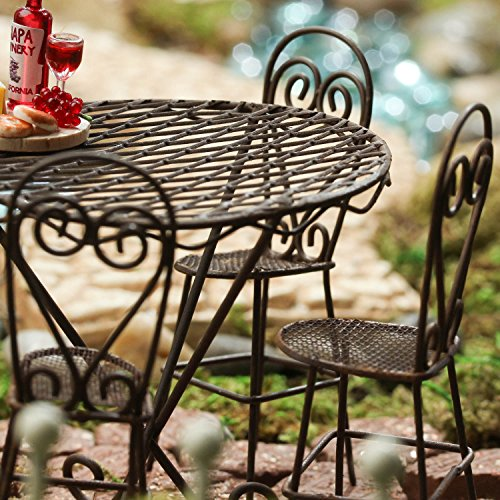 Victorian Wide Bench (Miniature Victorian Style Rustic Metal Bistro Table with Three Chairs Great for Fairy Gardens, Villages, and Crafting)
