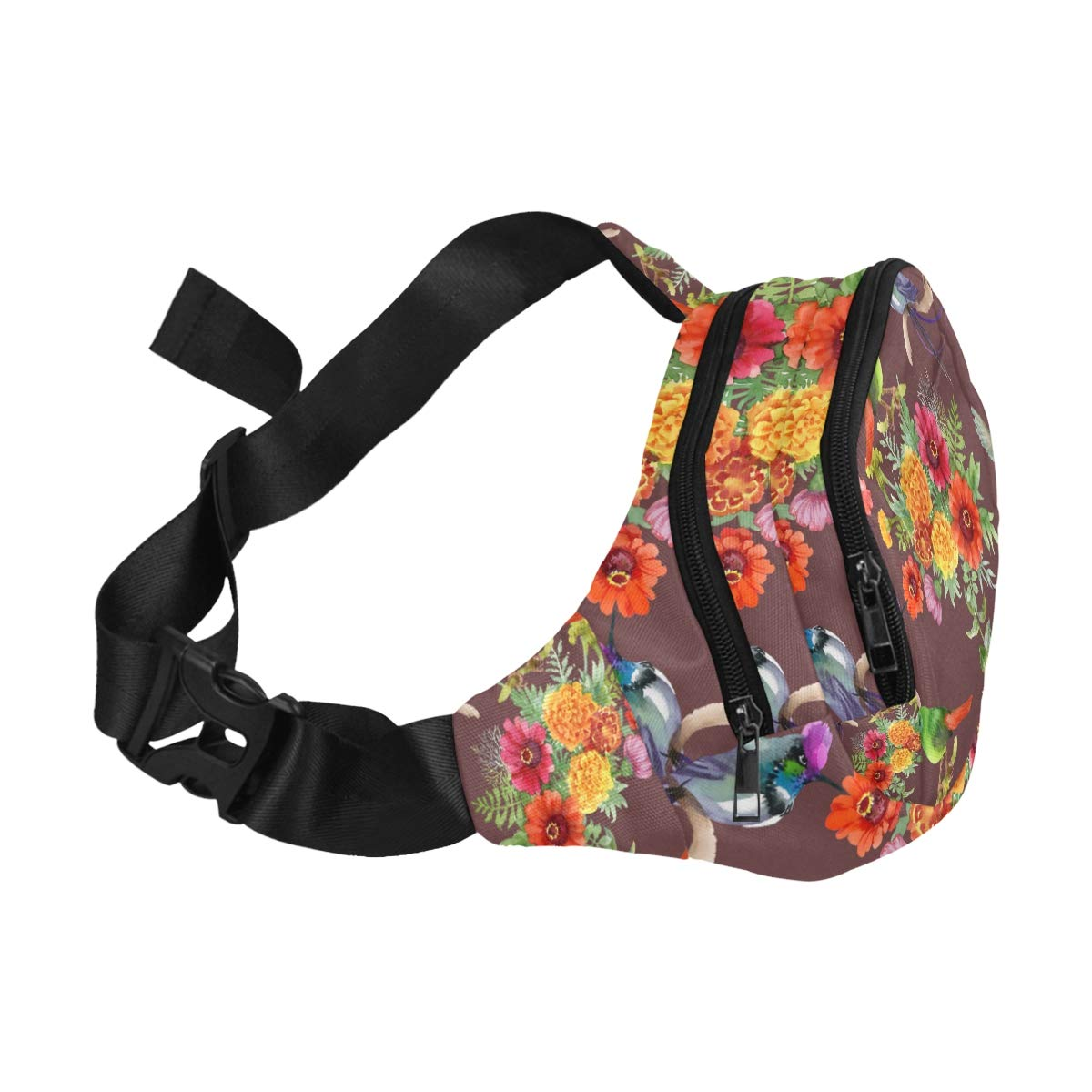 Colorful Watercolor Flowers And Birds Fenny Packs Waist Bags Adjustable Belt Waterproof Nylon Travel Running Sport Vacation Party For Men Women Boys Girls Kids