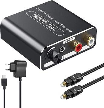 Ozvavzk Óptico a RCA con Volumen Ajustable,192KHz DAC Convertidor Audio Óptico Coaxial Toslink a Analógico Estéreo L/R y Jack 3.5mm con Cable Óptico Soporte PCM/LPCM: Amazon.es: Electrónica