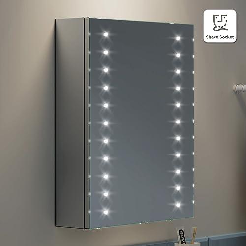 Bathroom mirror with shaver socket