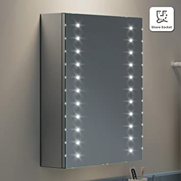 450 X 600 Mm Illuminated LED Bathroom Mirror Cabinet With Shaver Socket MC134