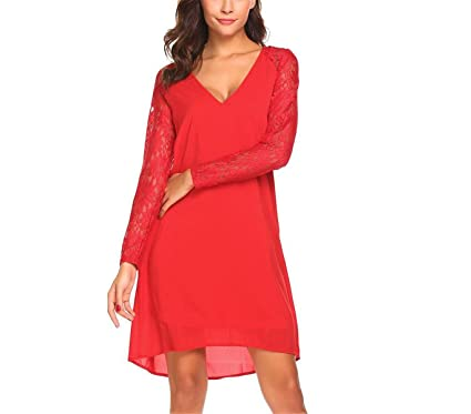 HoKLanVq Party V-Neck Lace Patchwork A-Line Dress Womens Long Sleeve Asymmetrical Belted