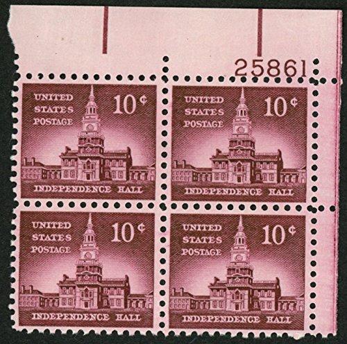 1956 10c US Postage Stamps Scott 1044 Philadelphia Independence Hall Block of 4 ()