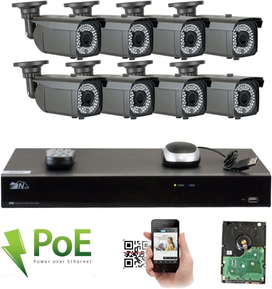 GW 8 Channel 4K NVR Video Security Camera System – Eight 5MP 1920P Weatherproof 2.8-12mm Varifocal Bullet Cameras, 180ft IR Night Vision, Realtime Recording 1080p 30fps, Pre-Installed 3TB HDD