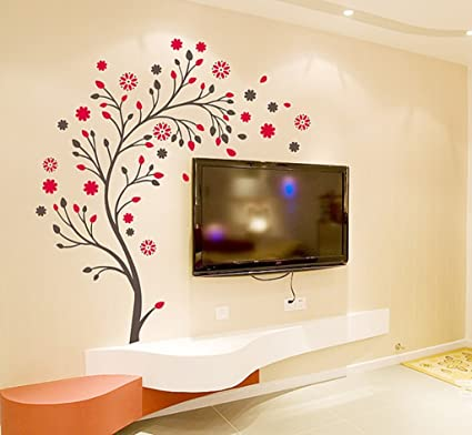 Decals Design Beautiful Magic Tree With Flowers Wall Sticker PVC Vinyl 50