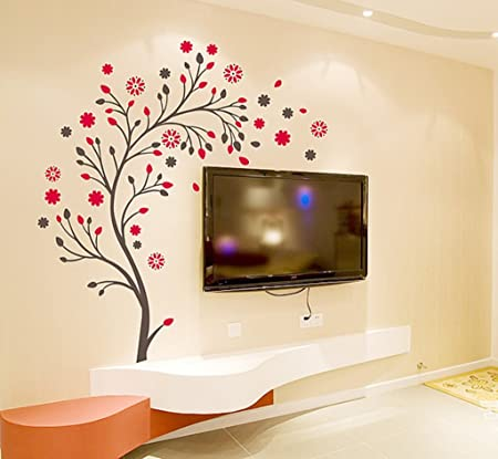 Decals Design Beautiful Magic Tree with Flowers Wall Sticker (PVC Vinyl, 50 cm x 70 cm, Brown and Red)