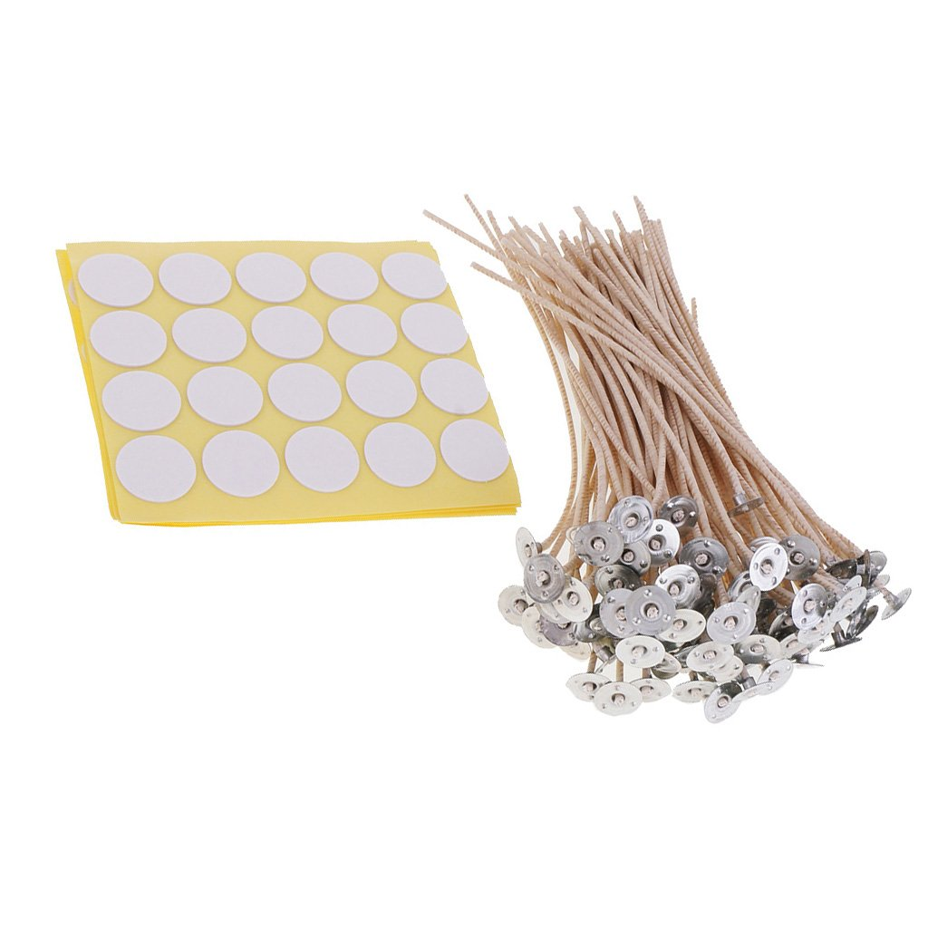 Jili Online 100 Pieces Brown Candle Wicks with 100 Pieces Stickers for DIY Candle Making Low Smoke - Brown, 20cm