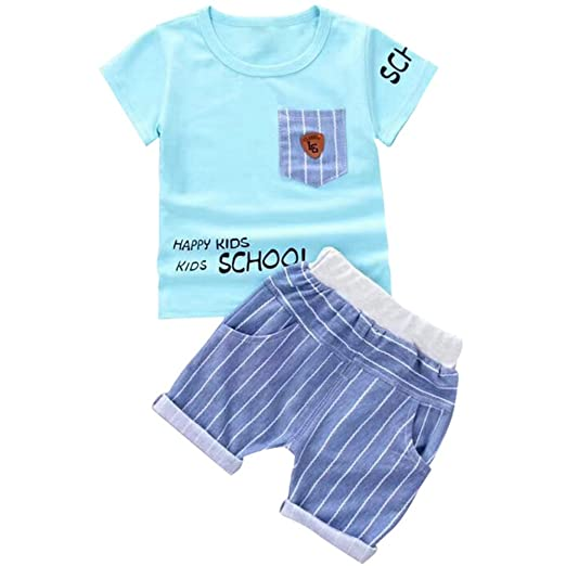 9da51eed699e Amazon.com  Baywell Baby Boy Kids Summer Clothes Set Girls Cotton ...