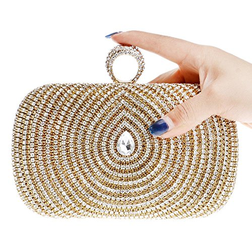 Rhinestone Gold Bolsas Polyester Raya Blue Boda Bag amp; Formal fiesta Tutu Evento Office Crystal Evening Seasons Mujer Para All Career gwXHqFv