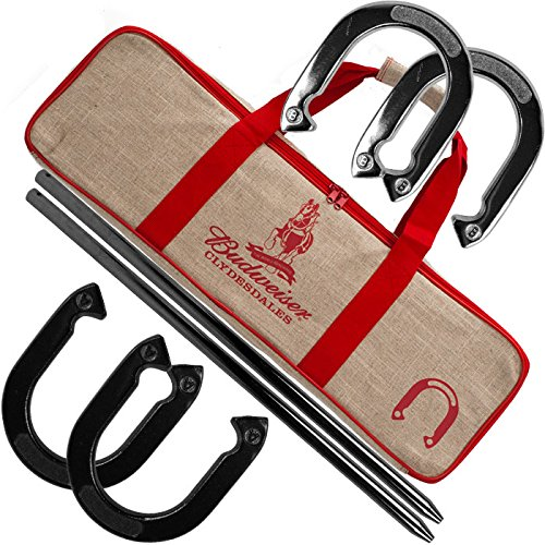 Heavy Duty Professional Budweiser Horseshoe Set - Includes 4 Horsehoes, 2 Poles, and Carrying Case! by TMG