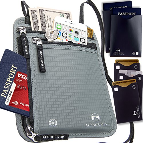Neck Wallet - RFID Blocking Hidden Travel Wallet with 5 Bonus Sleeves