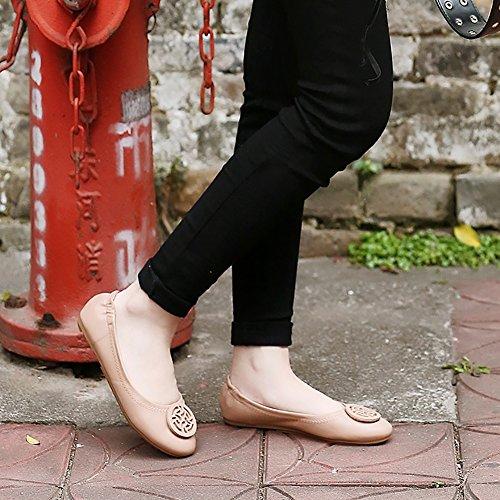 Meeshine Dames Ronde Neus Ballet Flats Zachte Comfort Gesp Slip Op Ballerina Schoenen Roze