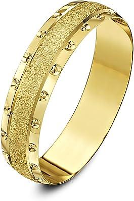 Theia Anillo de Bodas de Oro Amarillo o Oro Blanco, 9k, Peso Pesado, centro Cristalizado Borde con Diseño de Circulo Forma-D, 5-6mm: Amazon.es: Joyería