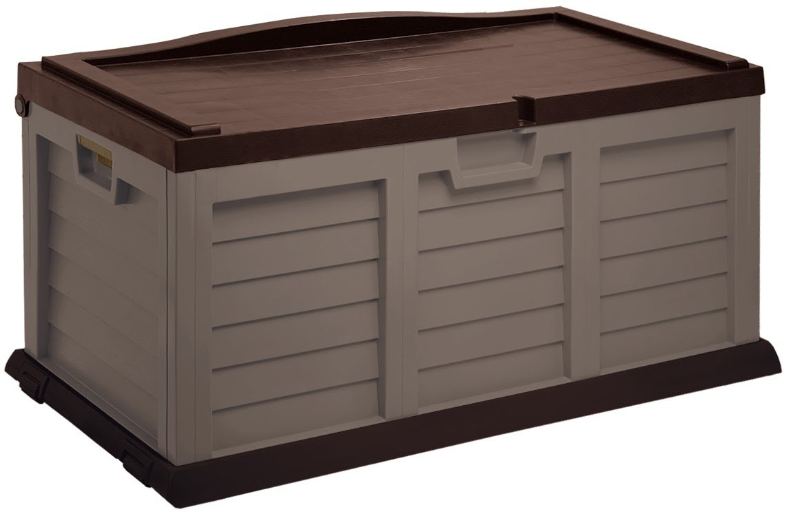 Starplast Deck Box with Sit-On Cover, 71 gallon, Mocha/Brown