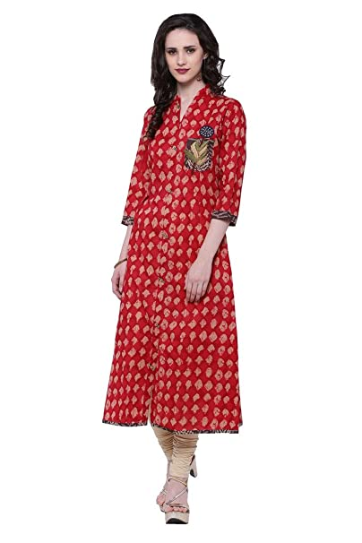 Divena Red A-Line Cotton Long Kurta Women's Kurtas & Kurtis at amazon