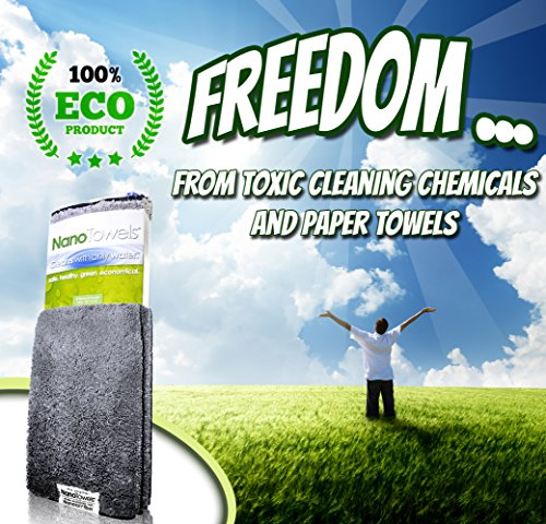 Life Miracle Nano Towels - Amazing Eco Fabric That Cleans Virtually Any Surface With Only Water. No More Paper Towels Or Toxic Chemicals. (Grey) by Life Miracle (Image #2)