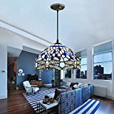 Akronfire Blue Tiffany Style Chandelier Colorful Dragonfly Glass Lamp Shade for Decorate Living Room Hotel Bar Restaurant 12 Inch