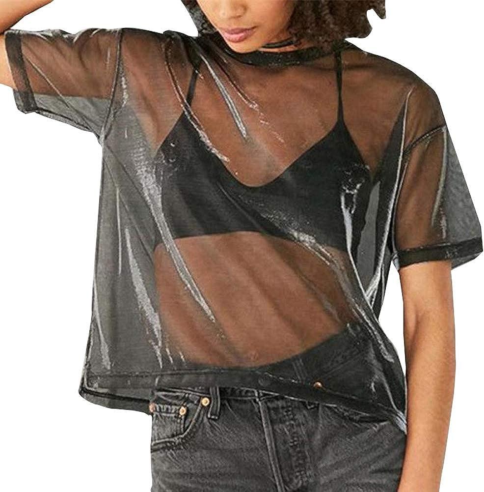 Camiseta Crop Top Mujer Transparente Reflejos con Cuello Redondo Top Corto para Mujer Transparentes con Manga Corta