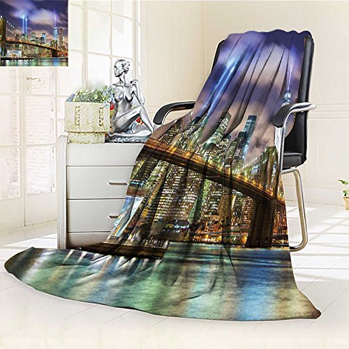 YOYI-HOME Twin Size Bed Duplex Printed Blanket s Super Soft Manhattan Skyline with Brooklyn Bridge and The Towers of Lights in New York City Puple Green Fleece Blanket for Bed or Couch/W79 x H47
