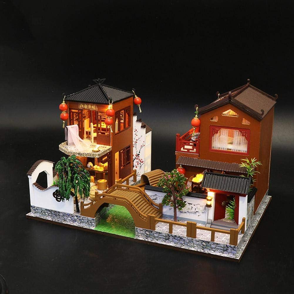 LIBOYUJU DIY Wisdom House Rose Garden Tea House Handmade Small House Model Assembling Toys Birthday Gift