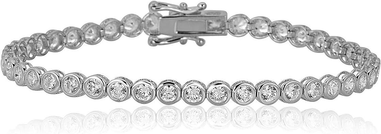 Sterling Silver Arm Stack Adjustable Turquoise Tennis Bracelet Bezel Set