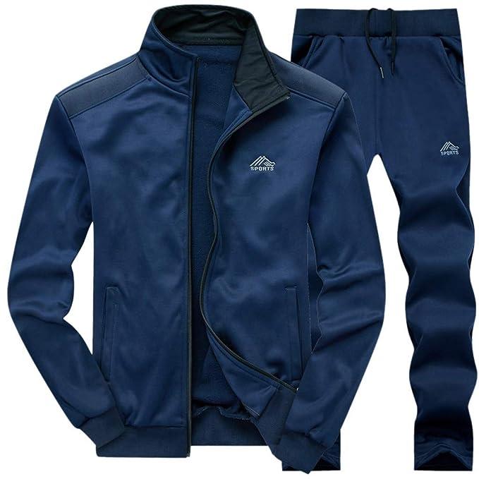 Chándal deportivo para hombre, estilo atlético, color sólido, 2 ...