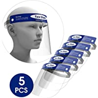 5-Pack Face Shield,Adjustable Anti-Fog Dental Full Face Shield with Protective Clear Film Elastic Band and Comfort Sponge