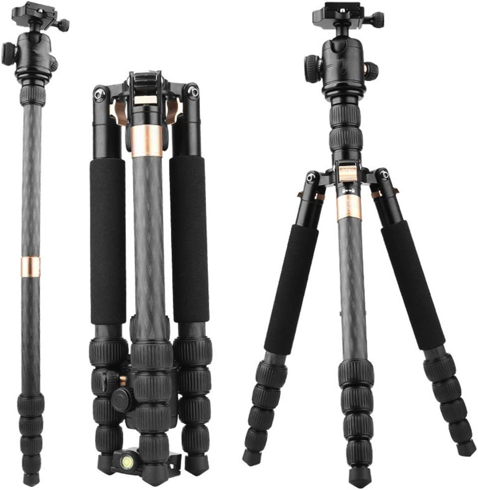 360 Degree Panoramic Tripod,Golden Portable Carbon Fiber SLR Camera Tripod Travel Photography//Camera Versatile Head Tripod Removable monopod