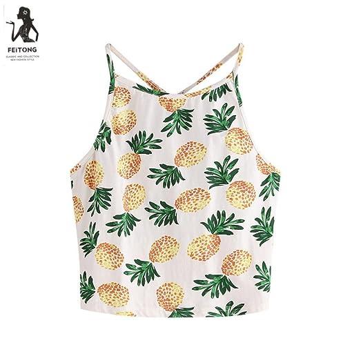 Ouneed Mujeres piña impresión sin mangas del tanque de verano top halter corto