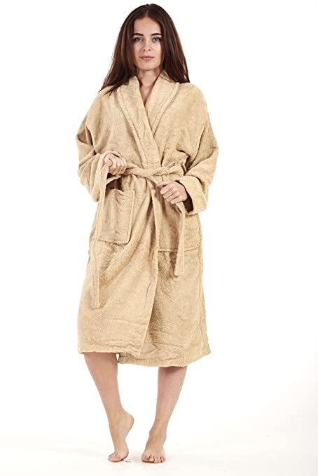 Ladies Bathrobe Womens Bath Robe 100% Egyptian Cotton Dressing Gown ...