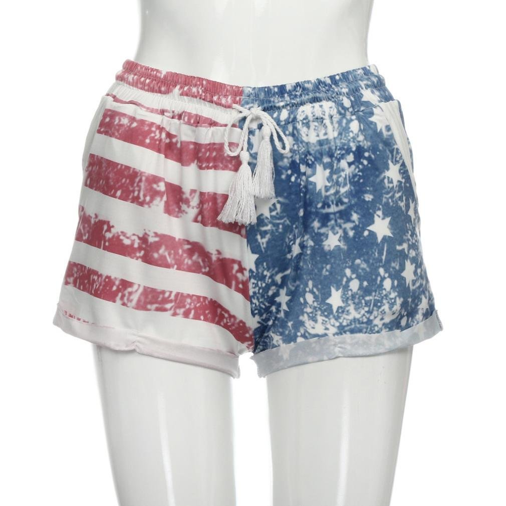 8ace542069 Amazon.com: Saingace Women Shorts Elastic Waist American Flag Print  Drawstring Hot Pants: Clothing