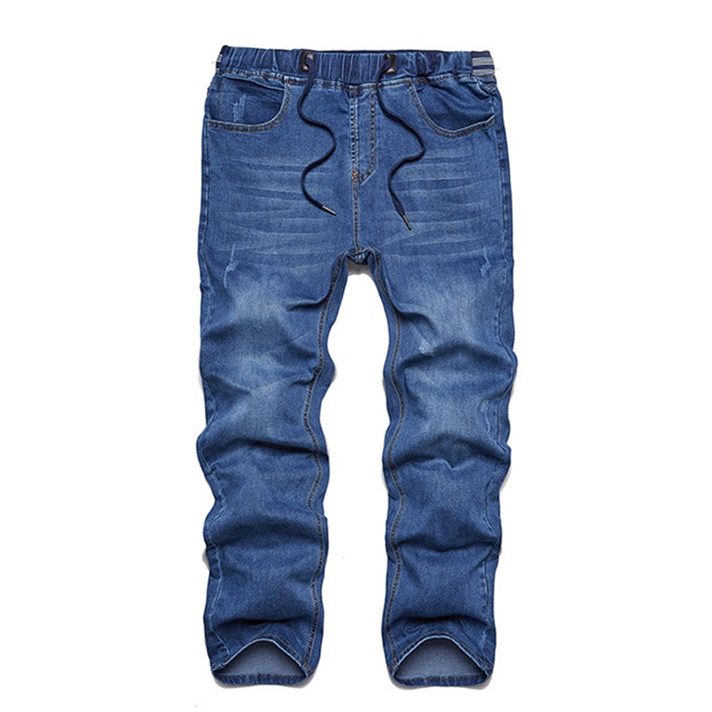 IVANNIE Mens Elastic Waist Slim Fit Stretch Jeans Pants with Drawstring