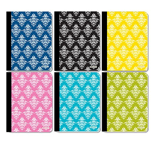 6 Pk, Bazic Damask College Ruled wireless Notebook, 100 Sheets