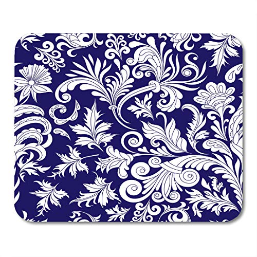 Nakamela Mouse Pads Persian Design Filigree Calligraphy Retro Antique Style Acanthus White on Blue Vintage Baroque Flower Mouse mats 9.5