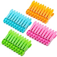 Colorful Plastic Clothespins, Heavy Duty Laundry Clothes Pins Clips with Springs, 4 Colors Clothes Drying Line Pegs for…