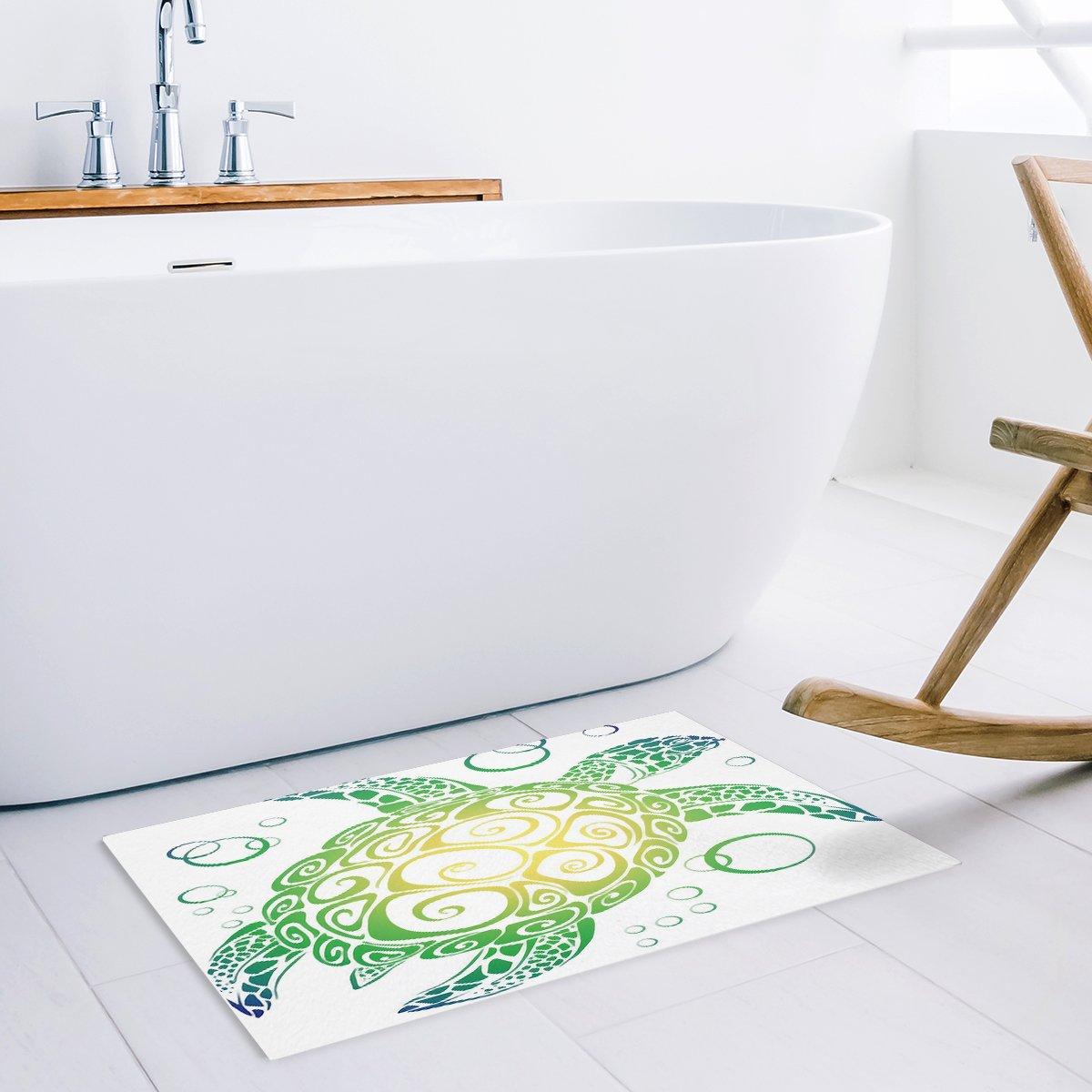 Lovingin Custom Happy Easter Cute Rabbits Design Bath Rugs Soft Bath Mats for Bathroom Machine Washable Doormat 18x30inch