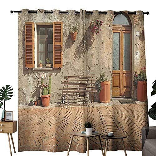 (Kids Room Curtains Tuscan Decor Collection Medieval Facade Italian Rustic Wooden Door Brick Wall in Small Village Peru Salmon Light Blocking Drapes with Liner W72 xL72)
