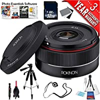 Rokinon AF 35mm f/2.8 FE Lens for Sony E IO35AF-E + Deluxe Cleaning Kit + Lens Cap Keeper + Full Size Tripod + Mac Essentials Lifetime Online Support + 32GB SDHC Class 10 Memory Card Bundle