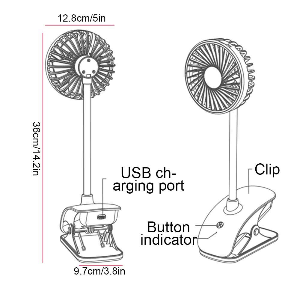 Mini USB Fan,Portable 3 Speeds Adjustable Clip Fan,Personal Desk Electric Fans with Rechargeable Battery Cooling Oscillating Fans for Bedroom Office Outdoor Travel Home, Camping, Office and Travel by Pveath (Image #5)