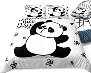 3D Bedding Set Printed,Cartoon Black And White Panda Animal,3D Printed Bedding Set Girls Women Reversible Comforter Mermaid Twin Size Bedding Sets Soft Comfortable Machine Washable,Us Queen 228Cm