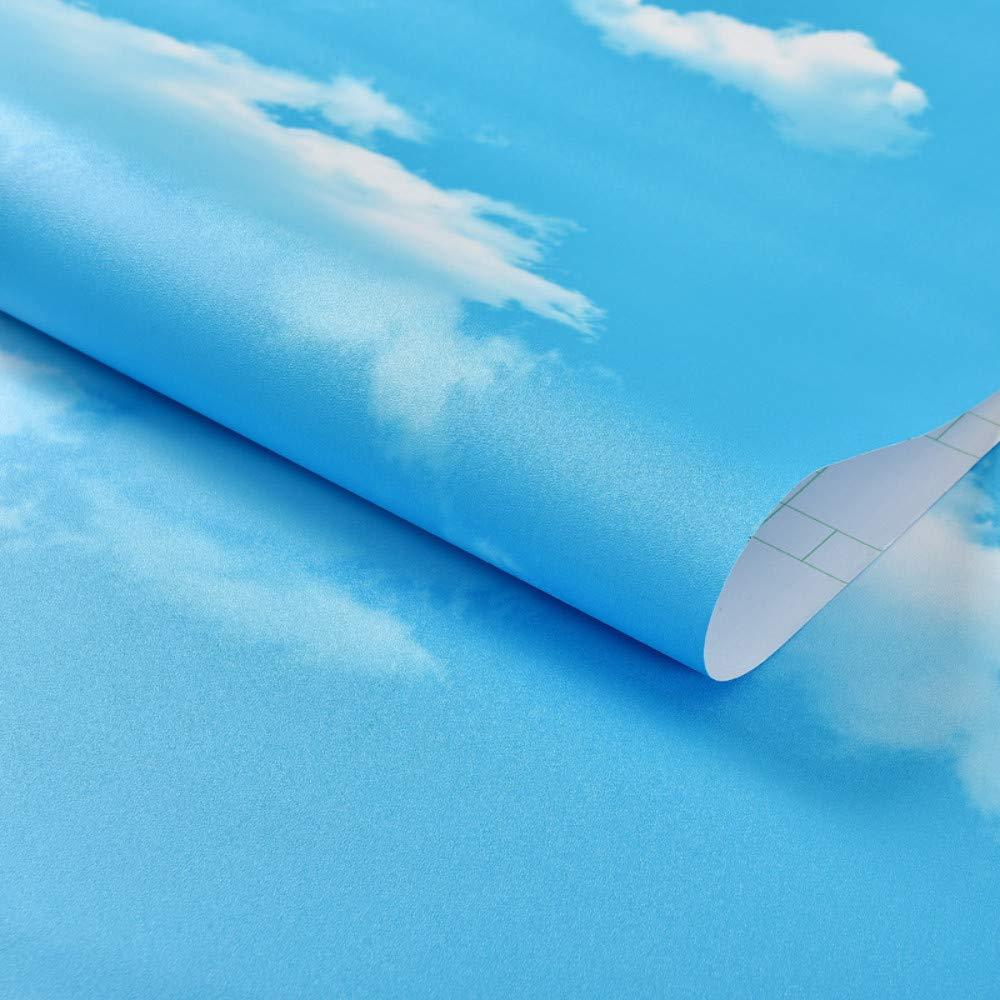 23.6in X 196.8in AdorabPaper Carta Da Parati Autoadesivo Cielo Blu Nuvole Bianche Impermeabile Carta Da Parati Soggiorno Parete Di Fondo 3D Adesivo Da Parete Stereo Blu 60cm X 500cm