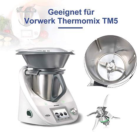AIEVE - Cuchilla de repuesto de acero inoxidable con cepillo de limpieza, cepillo de limpieza, recambio compatible con el robot de cocina Vorwerk Thermomix TM5: Amazon.es: Hogar