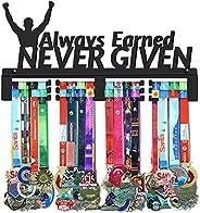 GENOVESE Always Earned Never Given Medal Holder Display Hanger Rack,Black Sturdy Metal,Wall Mount Over 70 Meda