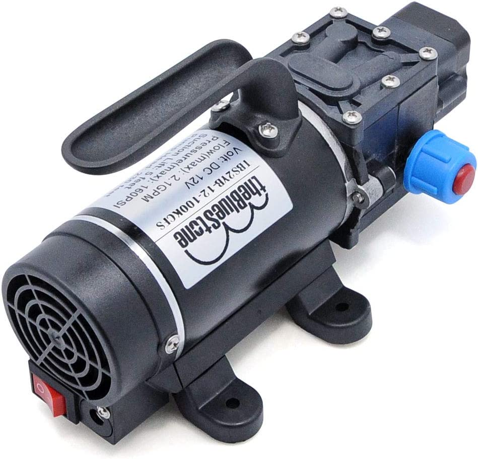 DC12V 160PSI Self-priming Demand Diaphragm Water Pump 2.1 GPM DC 2.1mmx5.5mm Jack with On/off Switch & Cooling Fan for RV Camper Boat Marine High Pressure Car Washing Cleaning Sprayer Sprinkler System
