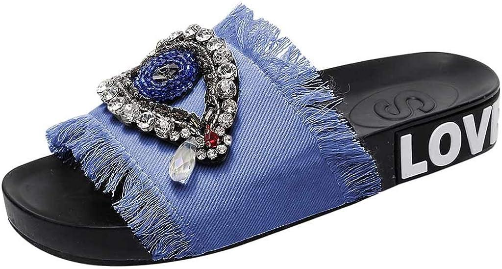 KESEELY Summer Women Denim Slipers - Ladies Girls Crystal Flat Rhinestones Sandals Slippers On Wide Beach Shoes