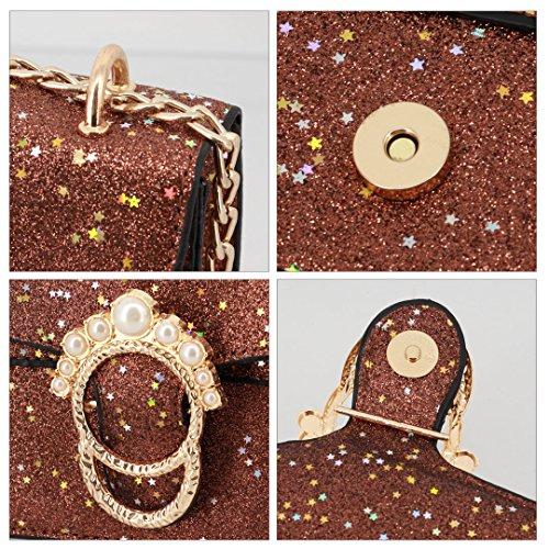 Handbag Party Purse Wedding Coffee Bag Evening Dailywear Gabrine Clutch 00367 Shoulder for Sequin Crossbody Womens wqfw7AX