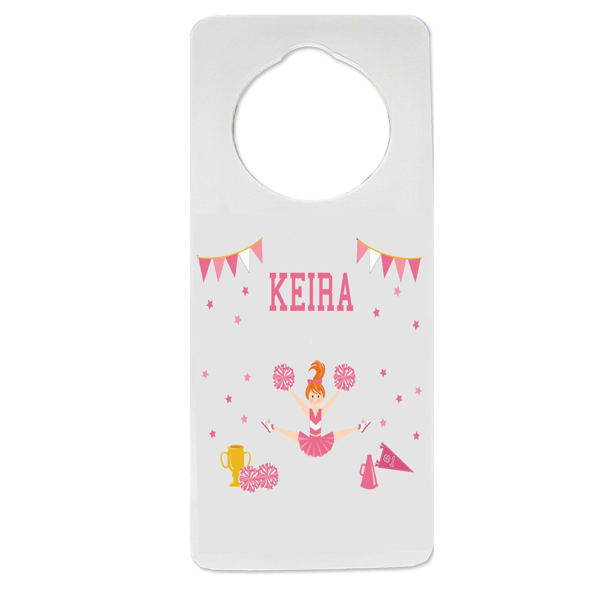 Personalized Cheerleader Red Hair Pink Nursery Door Hanger