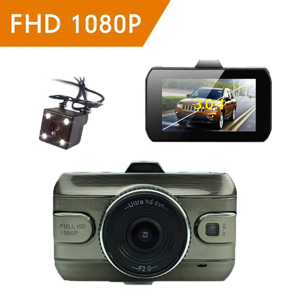 ZYWX Full HD 1080P 3 Inch Car Video Recorder 170° Wide Angle, Loop Recording, Motion Detection, All Day Monitoring, Night Vision Driving Recorder